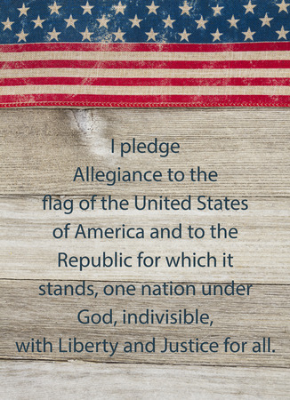 pledge of allegiance: America patriotic message, USA patriotic old flag and weathered wood background with text of the Pledge of Allegiance Stock Photo