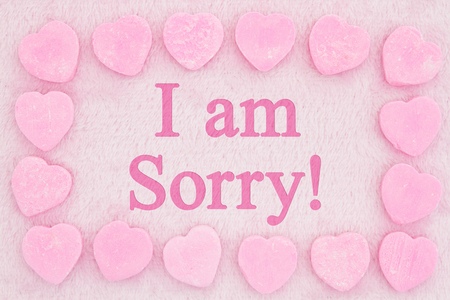 Old fashion I am sorry message, Retro heart shaped candy on pick fabric with text I am sorry