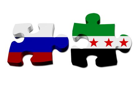 Rusland en Syrië werken samen, de Russische vlag en de Syrische vlag op twee puzzelstukjes geïsoleerd over wit Stockfoto