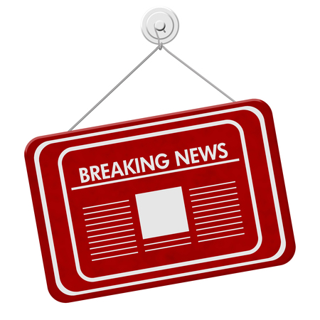 Breaking News sign, A red hanging sign with text Breaking News and newspaper icon isolated over white