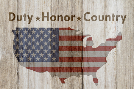 hallowed: Duty Honor and Country message, USA patriotic old flag on a map and weathered wood background with text Duty Honor Country