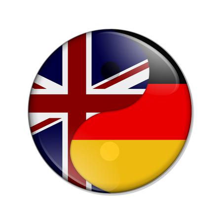Groot-Brittannië en Duitsland werken samen, de Britse vlag en de Duitse vlag op een yin-yang-symbool geïsoleerd over wit Stockfoto - 79014550