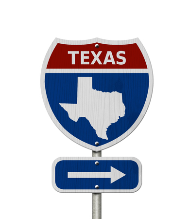 Road trip to Texas, Red, white and blue interstate highway road sign with word Texas and map of Texas isolated over white Stok Fotoğraf
