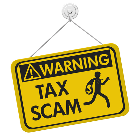 Tax scam warning sign, A yellow warning hanging sign with text Tax Scam and theft icon isolated over white Stock Photo
