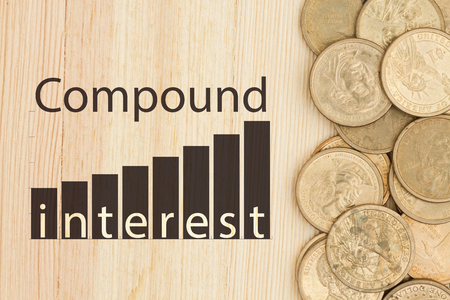 compounding: The power of compound interest, USA one dollar gold coins on a wood desk with text Compound Interest and a graph that show the compounding at 12% interest rate