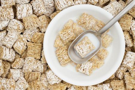 흰색 곡물 및 숟가락을 가진 곡물 밀 시리얼 스톡 콘텐츠