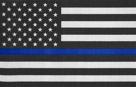 미국 얇은 파란색 라인 플래그 스톡 콘텐츠 - 79973275