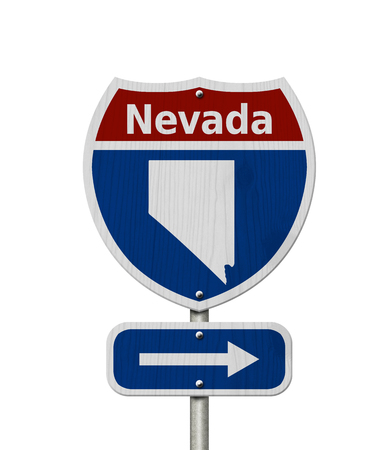 nv: Road trip to Nevada, Red, white and blue interstate highway road sign with word Nevada and map of Nevada isolated over white Stock Photo