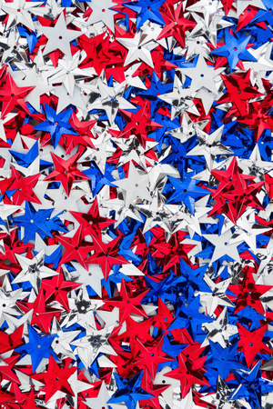 red america: Patriotic USA red, white and blue stars background Stock Photo