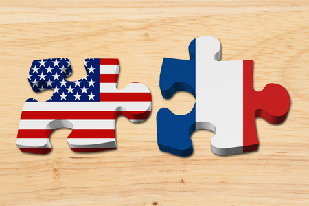 allies: Relationship between the USA and France, Two puzzle pieces with the flags of USA and France on wood