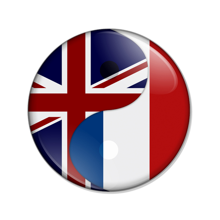 Britain and France working together, The British flag and French flag on a yin yang symbol isolated over white