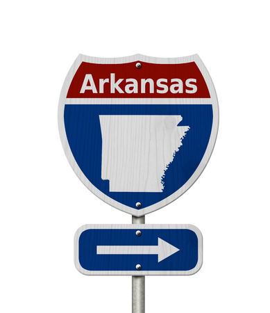 Road trip to Arkansas, Red, white and blue interstate highway road sign with word Arkansas and map of Arkansas isolated over white