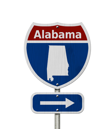 Road trip to Alabama, Red, white and blue interstate highway road sign with word Alabama and map of Alabama isolated over white