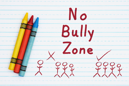 No Bully Zone Hand Lettering Text On Retro Lined Paper And Three Crayons  Lined Paper To Type On
