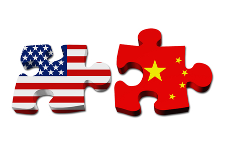 Relationship between the USA and China, Two puzzle pieces with the flags of USA and China isolated over white