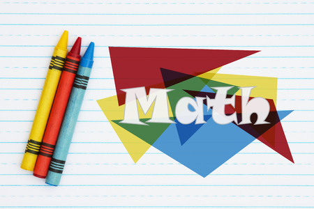 Three crayons on retro lined paper with text Math on colorful triangles Stock fotó
