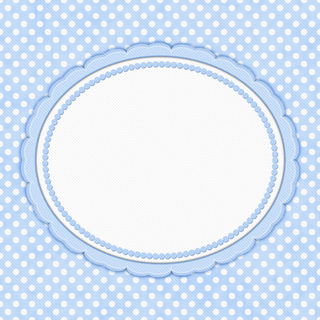 Blue and white polka dot with oval border with copy space for your message