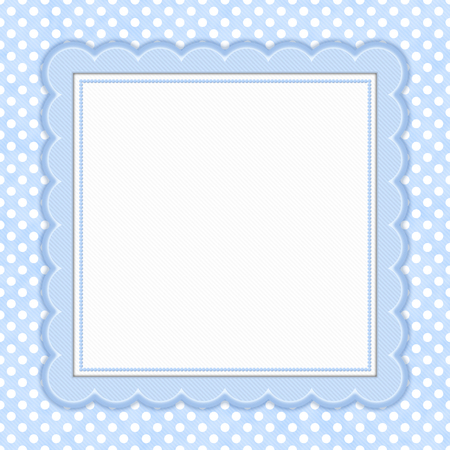 Blue and white polka dot with square border with copy space for your message