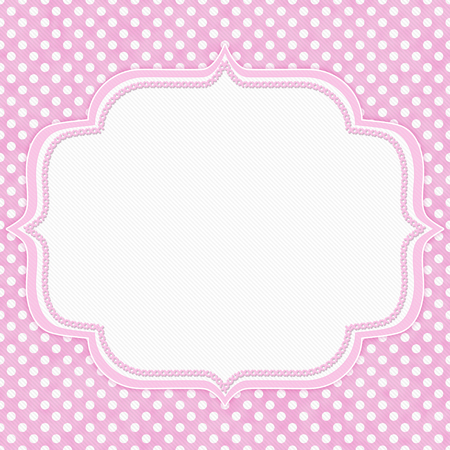 Pink and white polka dot with embroidery border with copy space for your message