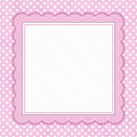 Pink and white polka dot with square border with copy space for your message
