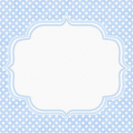 Blue and white polka dot with embroidery border with copy space for your message