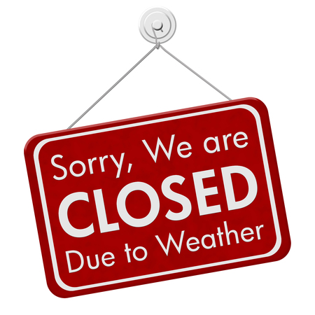 Closed due to weather sign, A red hanging sign with text Sorry we are closed due to weather isolated over white Stock Photo