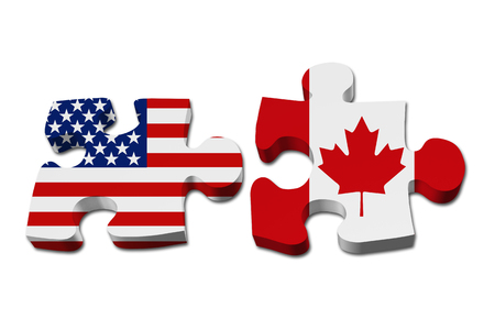 Relationship between the USA and Canada, Two puzzle pieces with the flags of USA and Canada isolated over white