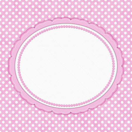 Pink and white polka dot with oval border with copy space for your message