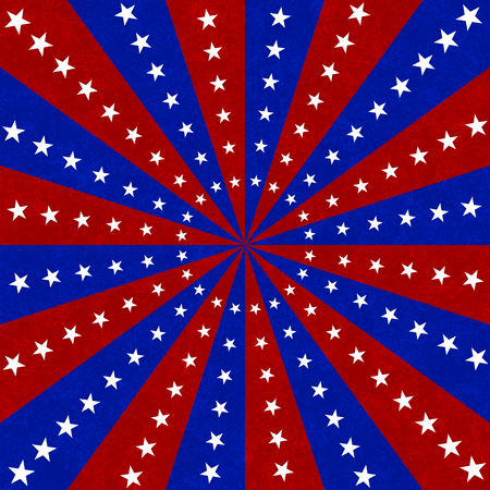Red, white and blue  stars and burst lines to center background Banco de Imagens - 106140034