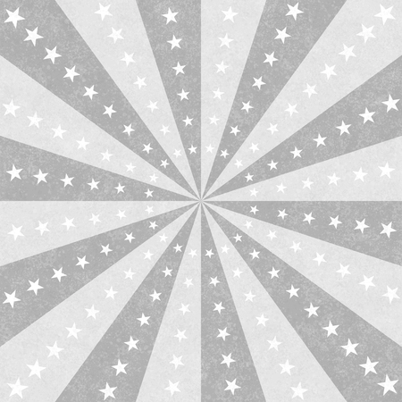 Gray and white stars and burst lines to center background Banco de Imagens