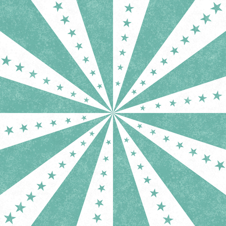 Teal and white stars and burst lines to center background Фото со стока