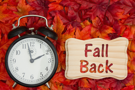 Daylight Savings Time message, Some fall leaves and retro alarm clock with text Fall Back on wood frame