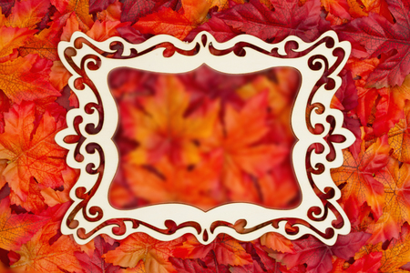 Autumn time with fancy wood frame and fall leaves with copy space for your message