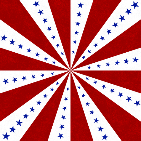 Red, white and blue  stars and burst lines to center background Banco de Imagens - 108910844
