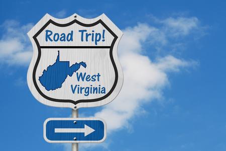 West Virginia Road Trip Highway Sign, West Virginia map and text Road Trip on a highway sign with sky background