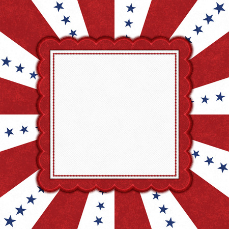 Blue stars with red and white burst lines with square border with copy space for your message