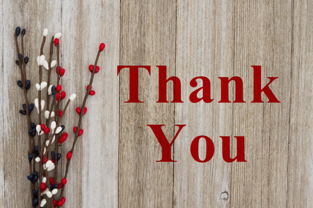 Thank You text with red, white and blue pip floral berry spray on weathered wood