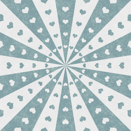 Teal and white hearts and burst lines heart background with texture