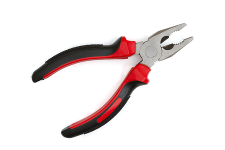 A black and red hand pliers isolated over white 스톡 콘텐츠