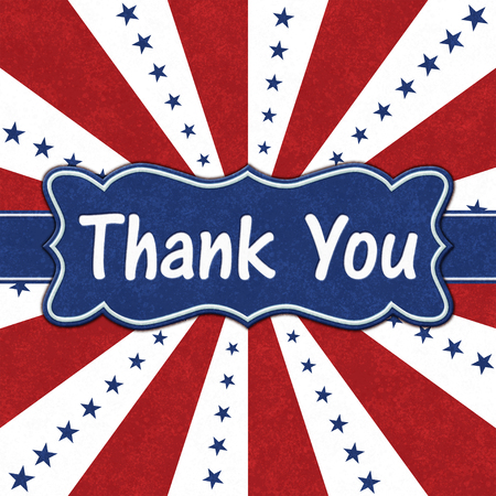 Thank You message on a ribbon with blue stars with red and white burst lines