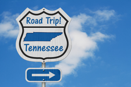 Tennessee Road Trip Highway Sign, Tennessee map and text Road Trip on a highway sign with sky background