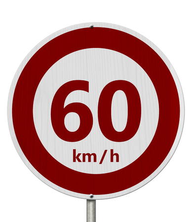 Red and white 60 km speed limit European style sign isolated over white
