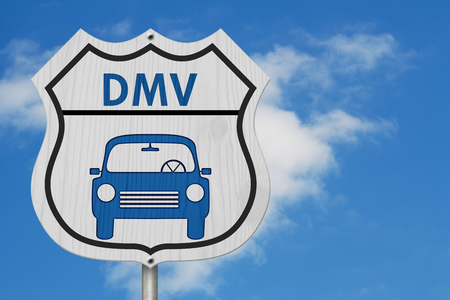 Icon of a car and text DMV on a highway sign
