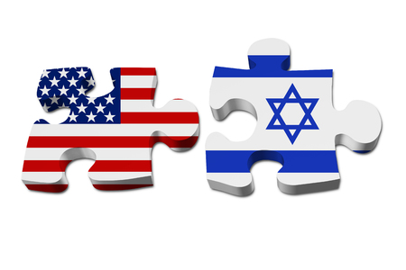 USA and Israel working together, The US flag and Israeli flag on two puzzle pieces isolated over white