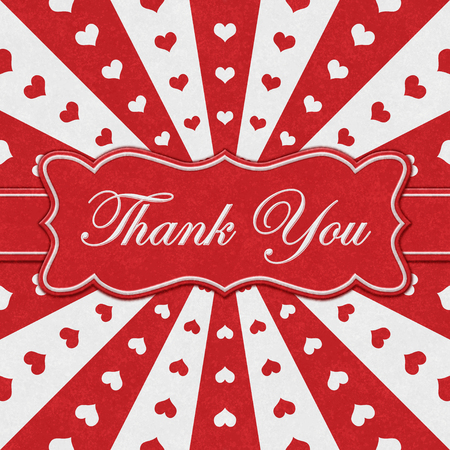 Thank You message on a ribbon with with red hearts with red and white burst lines