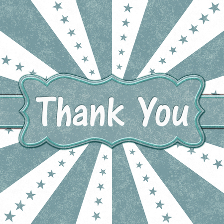 Teal and white stars and burst lines Thank You message with a ribbon