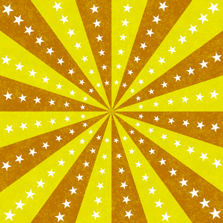 Brown and white stars and burst lines to center background Banco de Imagens - 115025921