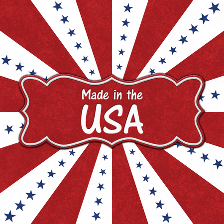 Made in the USA message on a ribbon with blue stars with red and white burst lines Banco de Imagens - 115025934