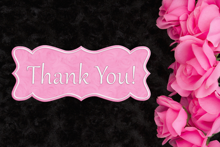 Thank You message with pink roses on black rose textured plush fabric