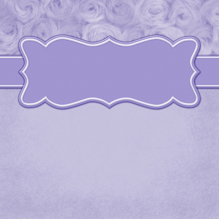 Purple with square border with rose plush fabric with copy space for your message and a banner